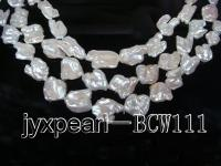 Super-size 16*17mm-20*25mm White Keshi Pearl String BCW111