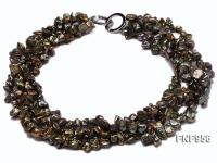 Four-strand 7x11mm Dark-green Baroque Freshwater Pearl Necklace FNF956