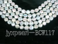 wholesale 9.5-10.5mm White flat round pearl strings BCW117
