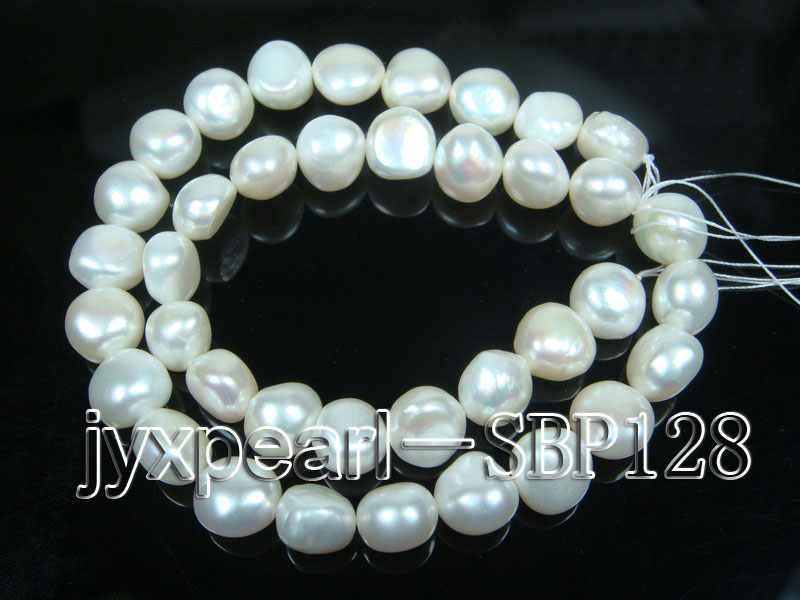 Wholesale 10-11mm Classic White Flat Freshwater Pearl String big Image 3