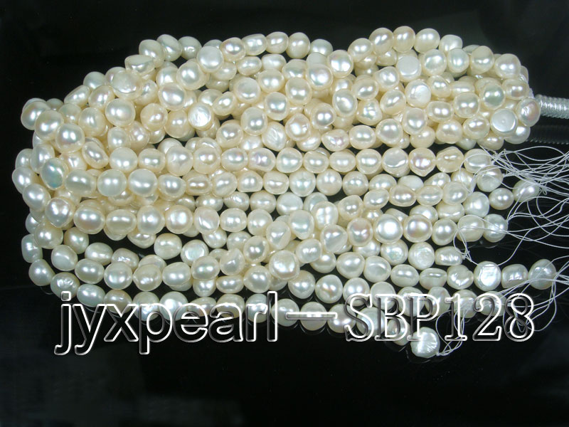 Wholesale 10-11mm Classic White Flat Freshwater Pearl String big Image 4