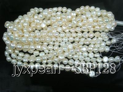 Wholesale 10-11mm Classic White Flat Freshwater Pearl String SBP128 Image 4