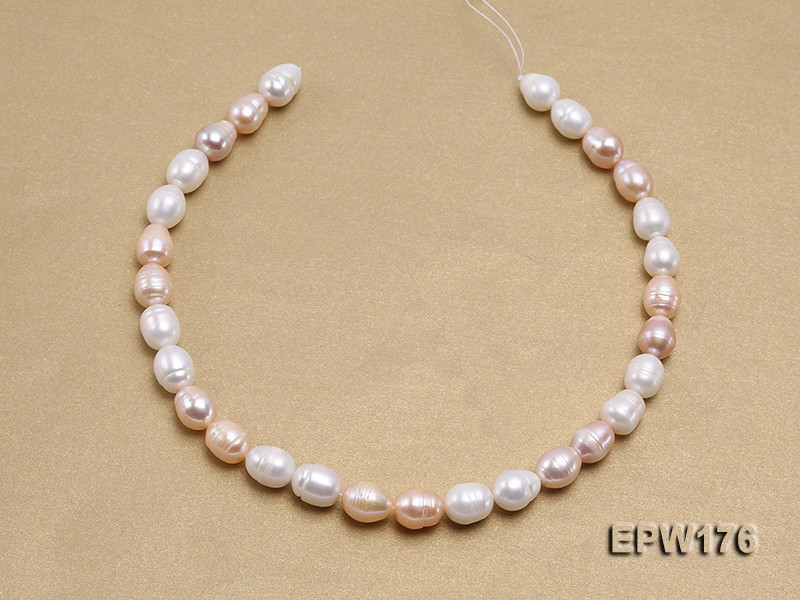 AA-grade 10.5x13mm White/Pink/Lavender Rice-shaped Freshwater Pearl String big Image 3