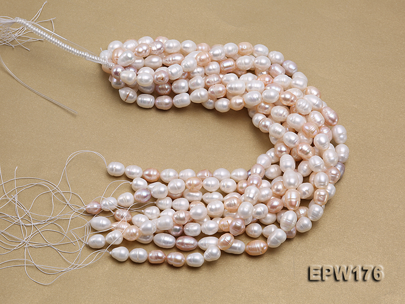 AA-grade 10.5x13mm White/Pink/Lavender Rice-shaped Freshwater Pearl String big Image 4