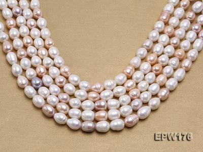 AA-grade 10.5x13mm White/Pink/Lavender Rice-shaped Freshwater Pearl String EPW176 Image 1