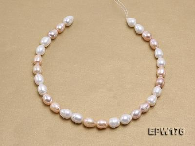 AA-grade 10.5x13mm White/Pink/Lavender Rice-shaped Freshwater Pearl String EPW176 Image 3