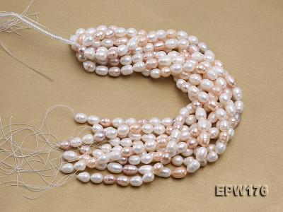 AA-grade 10.5x13mm White/Pink/Lavender Rice-shaped Freshwater Pearl String EPW176 Image 4