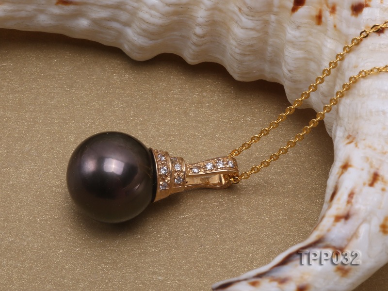 15.5mm peacock round tahitian pearl pendant with sterling silver pendant bail  big Image 4