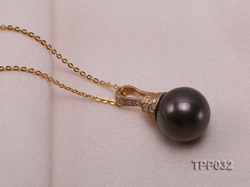 15.5mm peacock round tahitian pearl pendant with sterling silver pendant bail  big Image 5