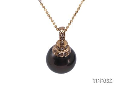 15.5mm peacock round tahitian pearl pendant with sterling silver pendant bail  TPP032 Image 1