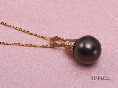 15.5mm peacock round tahitian pearl pendant with sterling silver pendant bail  TPP032 Image 3