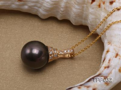 15.5mm peacock round tahitian pearl pendant with sterling silver pendant bail  TPP032 Image 4