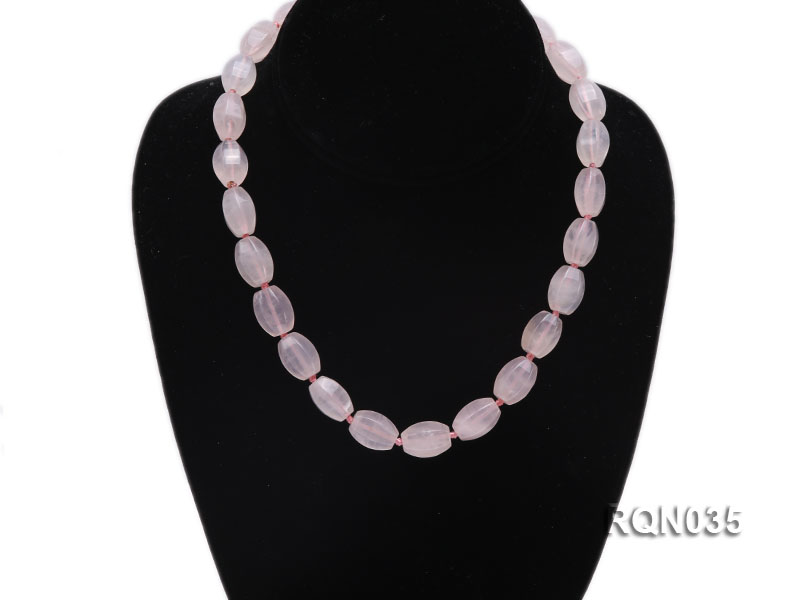 12x16mm Oval Rose Quartz Necklace big Image 5