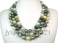 10-14mm 3 Strand round tahitian pearl necklace  TP121