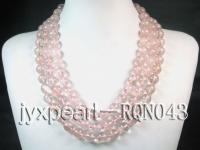 12mm three-row round rose quartz necklace RQN043