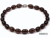 14x20mm Oval Faceted Smoky Quartz Beads Necklace SMN025