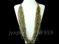 Multi-strand 6-7mm Grass-green Freshwater Pearl and Smoky Quartz Necklace  FNF959