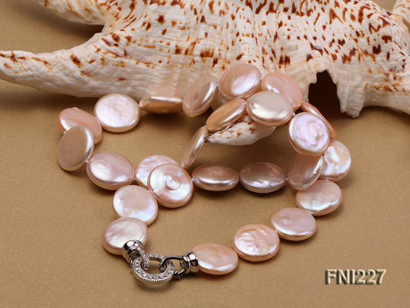 Classic16-17mm Pink Button Freshwater Pearl Necklace big Image 4
