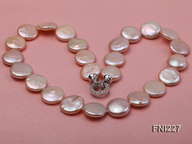 Classic16-17mm Pink Button Freshwater Pearl Necklace big Image 5