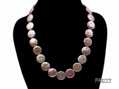 Classic16-17mm Pink Button Freshwater Pearl Necklace FNI227 Image 2