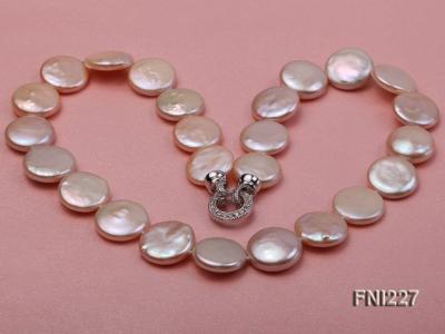 Classic16-17mm Pink Button Freshwater Pearl Necklace FNI227 Image 5