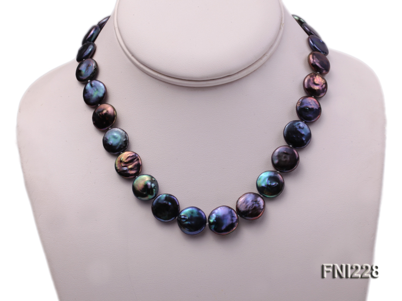 Classic 14mm Black Button Freshwater Pearl Necklace big Image 2