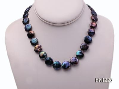 Classic 14mm Black Button Freshwater Pearl Necklace FNI228 Image 2