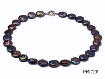 Classic 14mm Black Button Freshwater Pearl Necklace FNI228 Image 1
