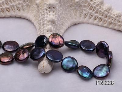 Classic 14mm Black Button Freshwater Pearl Necklace FNI228 Image 3