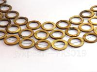 Wholesale 30mm Brown Ring-shaped Freshwater Shell String FRS019
