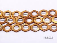 Wholesale 30mm Champagne Orthohexagonal Freshwater Shell String FRS021
