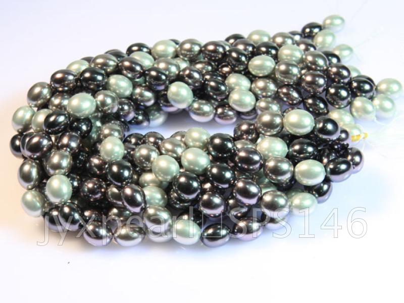wholesale 13x15.5mm black and white seashell pearl strings  big Image 3