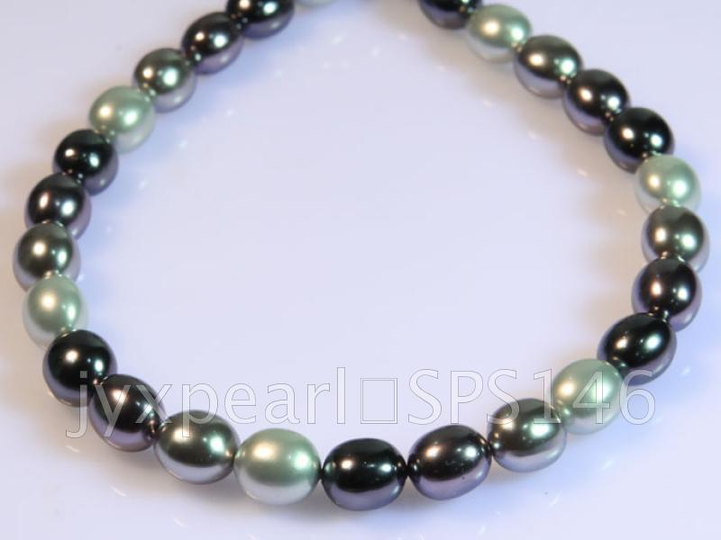 wholesale 13x15.5mm black and white seashell pearl strings  big Image 4