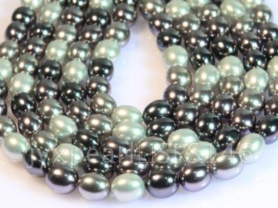 wholesale 13x15.5mm black and white seashell pearl strings  SPS146 Image 1