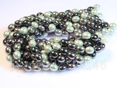 wholesale 13x15.5mm black and white seashell pearl strings  SPS146 Image 3