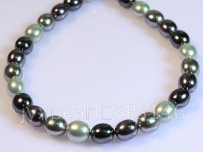 wholesale 13x15.5mm black and white seashell pearl strings  SPS146 Image 4