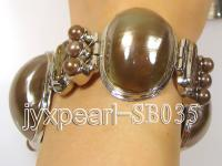 9x20mm & 16x20mm Brown Shell and Pearl Bracelet SB035