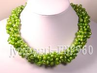 Five-strand 7-10mm Green Side-drilled Cultured Freshwater Pearl Necklace FNF960