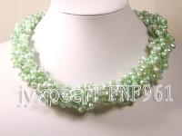 Five-strand 7-10mm Light-green Side-drilled Cultured Freshwater Pearl Necklace FNF961