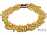 Five-stand 5-8mm Lemon-yellow Freshwater Pearl Necklace FNF962