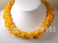 Five-strand 7-10mm Orange Side-drilled Cultured Freshwater Pearl Necklace FNF963