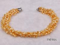 Five-strand 7-10mm Yellow Flat Freshwater Pearl Necklace FNF964
