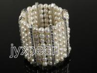 Exquisite Pearl Cuff---8 row pearl bracelet with zircon spacer HC240