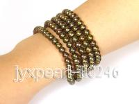 5 Row Golden Brown Freshwater Pearl Bracelet HC246