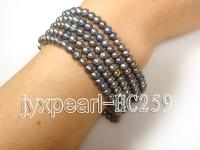Five-row pewter pearl bracelet HC259