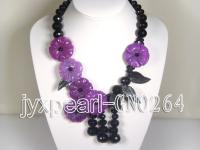 Extraordinary Purple Agate Flower Necklace GNO264