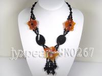 Extraordinary Black & Red natural agate necklace GNO267