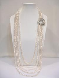 Four Strand Super Long Pearl Necklace with Sterling Silver Peony Peace Button FNO812