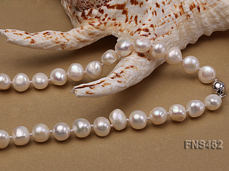 Freshwater cultured 8-9mm natural white pearl necklace with pendant big Image 2