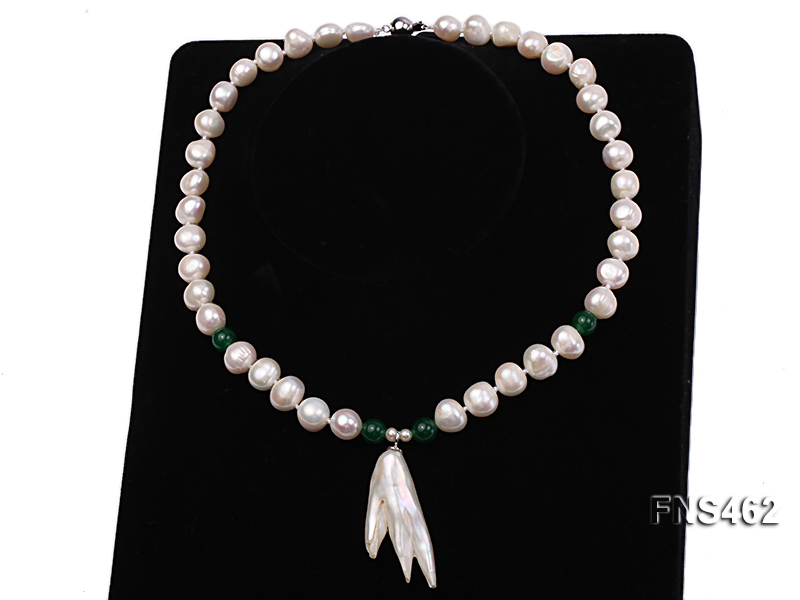 Freshwater cultured 8-9mm natural white pearl necklace with pendant big Image 3